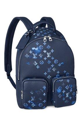 Мужской кожаный рюкзак multipocket LOUIS VUITTON темно-синего цвета, арт. M57841 | Фото 1 (Материал: Натуральная кожа)