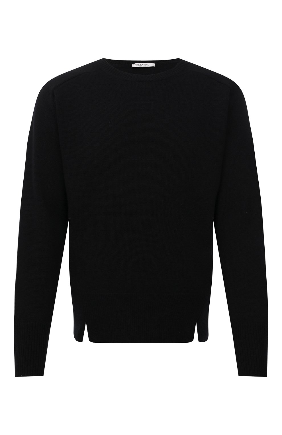 Мужской кашемировый свитер VALENTINO черного цвета, арт. WV3KC15D7K8 | Фото 1 (Материал внешний: Шерсть; Рукава: Длинные; Принт: Без принта; Длина (для топов): Стандартные; Стили: Кэжуэл)