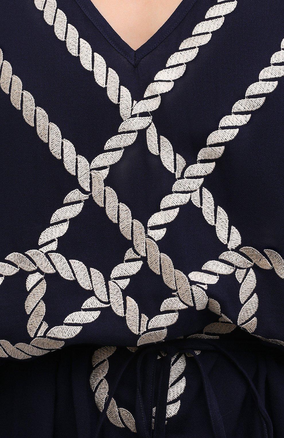 Женская туника из вискозы MARLIES DEKKERS темно-синего цвета, арт. 35433 | Фото 8 (Длина Ж (юбки, платья, шорты): Мини; Рукава: Короткие; Женское Кросс-КТ: Туника-одежда, Туника-пляжная одежда; Материал внешний: Вискоза)