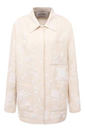 Женская куртка VALENTINO кремвого цвета, арт. VB0CJ1Y56BC   Фото 1 (Рукава: Длинные; Материал внешний: Растительное волокно; Длина (верхняя одежда): До середины бедра; Кросс-КТ: Куртка; Стили: Бохо)