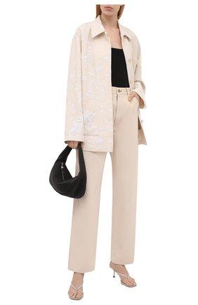 Женская куртка VALENTINO кремвого цвета, арт. VB0CJ1Y56BC   Фото 2 (Рукава: Длинные; Материал внешний: Растительное волокно; Длина (верхняя одежда): До середины бедра; Кросс-КТ: Куртка; Стили: Бохо)