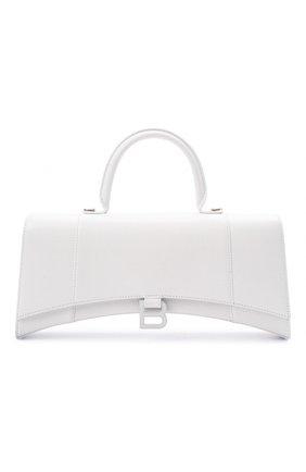 Женская сумка hourglass BALENCIAGA белого цвета, арт. 654946/1QJ4I | Фото 1 (Материал: Натуральная кожа; Ремень/цепочка: На ремешке; Сумки-технические: Сумки top-handle, Сумки через плечо; Размер: medium)