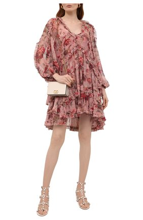 Женские кожаные босоножки rockstud VALENTINO кремвого цвета, арт. WW2S0491/VBP | Фото 2 (Подошва: Плоская; Материал внутренний: Натуральная кожа; Каблук высота: Средний; Каблук тип: Устойчивый)