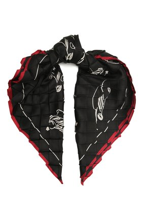 Женский шелковый платок GIORGIO ARMANI черного цвета, арт. 795303/1A104 | Фото 1