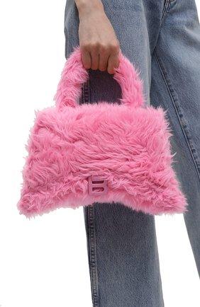 Женская сумка hourglass BALENCIAGA розового цвета, арт. 656415/HPD9Y | Фото 2 (Материал: Текстиль; Ремень/цепочка: На ремешке; Размер: medium; Сумки-технические: Сумки top-handle, Сумки через плечо)