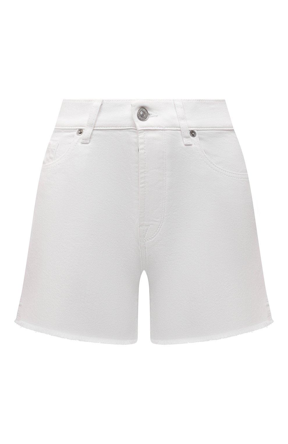 Женские джинсовые шорты 7 FOR ALL MANKIND белого цвета, арт. JSSHV690SW   Фото 1 (Женское Кросс-КТ: Шорты-одежда; Кросс-КТ: Деним; Длина Ж (юбки, платья, шорты): Мини; Материал внешний: Хлопок, Деним; Стили: Кэжуэл)