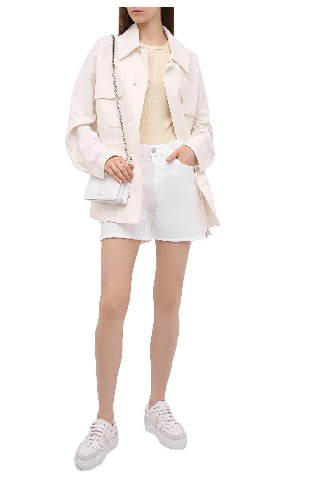 Женские джинсовые шорты 7 FOR ALL MANKIND белого цвета, арт. JSSHV690SW   Фото 2 (Женское Кросс-КТ: Шорты-одежда; Кросс-КТ: Деним; Длина Ж (юбки, платья, шорты): Мини; Материал внешний: Хлопок, Деним; Стили: Кэжуэл)