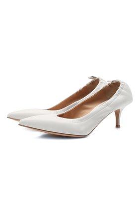 Женские кожаные туфли alina 55 GIANVITO ROSSI белого цвета, арт. G22055.55RIC.NAPBIAN   Фото 1 (Каблук высота: Низкий; Подошва: Плоская; Материал внутренний: Натуральная кожа; Каблук тип: Шпилька)