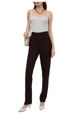 Женские кожаные туфли alina 55 GIANVITO ROSSI белого цвета, арт. G22055.55RIC.NAPBIAN   Фото 2 (Каблук высота: Низкий; Подошва: Плоская; Материал внутренний: Натуральная кожа; Каблук тип: Шпилька)
