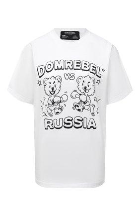 Женская хлопковая футболка DOMREBEL белого цвета, арт. FACE-0FF/T-SHIRT   Фото 1