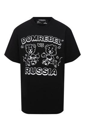 Женская хлопковая футболка DOMREBEL черного цвета, арт. FACE-0FF/T-SHIRT   Фото 1