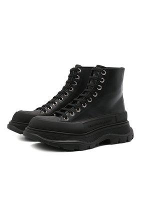 Женские кожаные ботинки ALEXANDER MCQUEEN черного цвета, арт. 633900/WHZ62 | Фото 1 (Каблук высота: Низкий; Материал внутренний: Натуральная кожа; Подошва: Платформа; Женское Кросс-КТ: Хайкеры-ботинки)