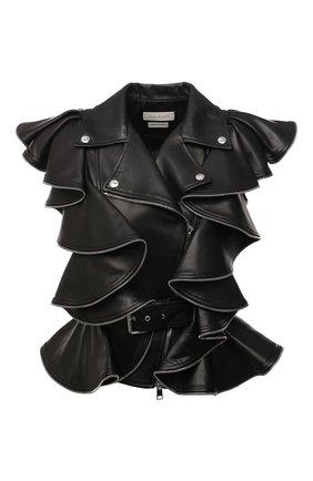 Женский кожаный жилет ALEXANDER MCQUEEN черного цвета, арт. 668441/Q5AGI   Фото 1