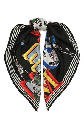 Женский шелковый платок ALEXANDER MCQUEEN черно-белого цвета, арт. 665692/3001Q | Фото 1