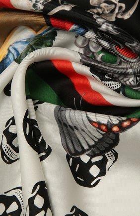 Женский шелковый платок ALEXANDER MCQUEEN черно-белого цвета, арт. 665692/3001Q | Фото 2