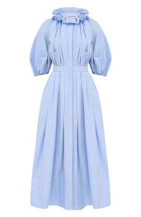 Женское хлопковое платье ALEXANDER MCQUEEN голубого цвета, арт. 663853/QAAAY   Фото 1