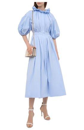 Женское хлопковое платье ALEXANDER MCQUEEN голубого цвета, арт. 663853/QAAAY   Фото 2
