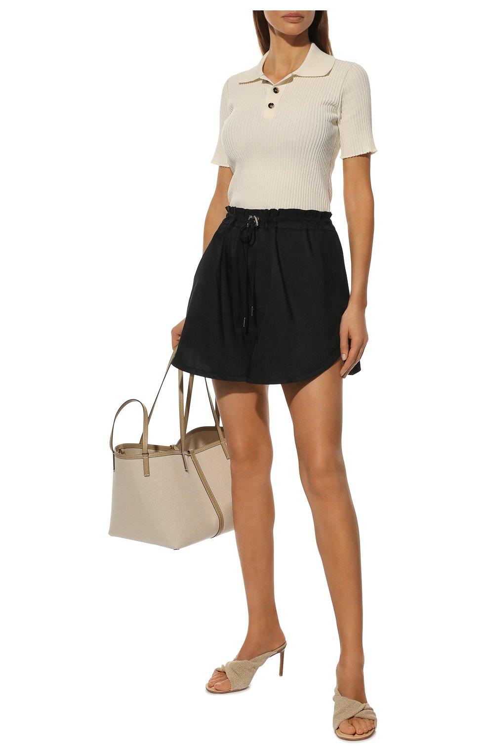 Женские шорты ALEXANDER MCQUEEN черного цвета, арт. 661560/QEACM | Фото 2 (Женское Кросс-КТ: Шорты-одежда; Длина Ж (юбки, платья, шорты): Мини; Материал внешний: Синтетический материал; Стили: Спорт-шик)