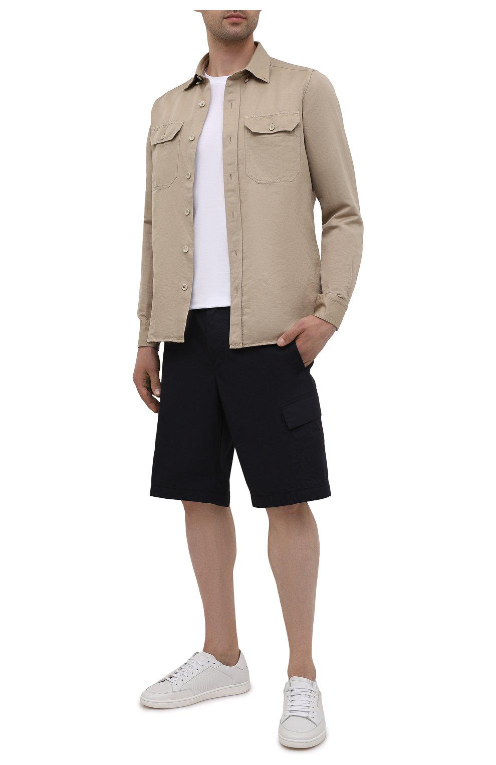 Мужские хлопковые шорты BOGNER темно-синего цвета, арт. 18173753 | Фото 2 (Мужское Кросс-КТ: Шорты-одежда; Принт: Без принта; Длина Шорты М: Ниже колена; Материал внешний: Хлопок; Стили: Спорт-шик)