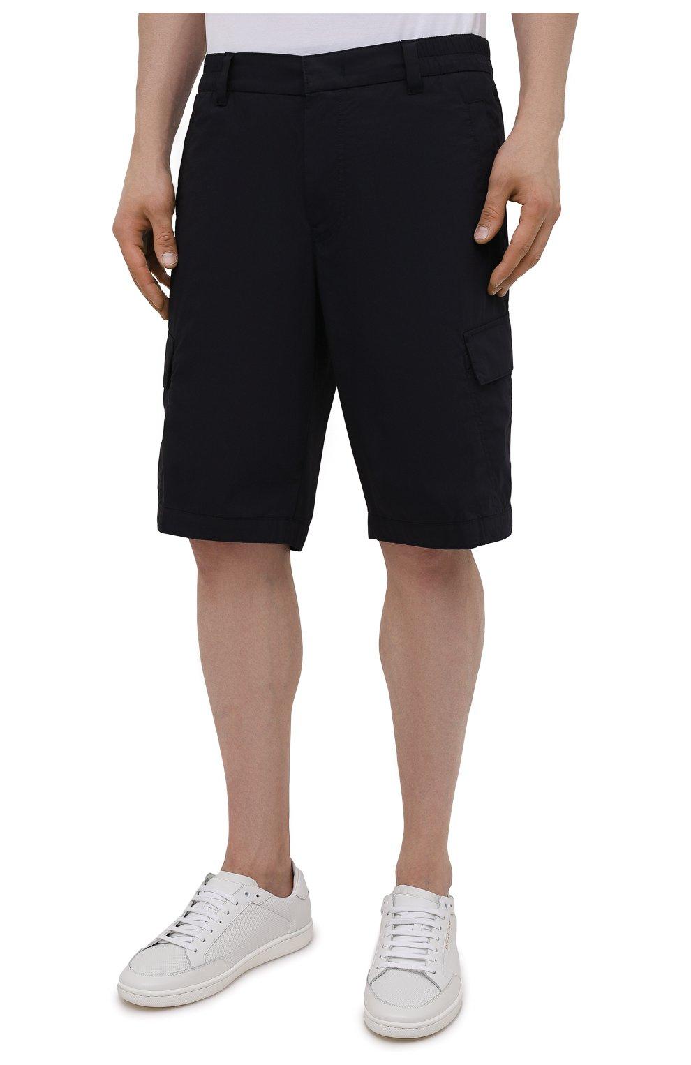 Мужские хлопковые шорты BOGNER темно-синего цвета, арт. 18173753 | Фото 3 (Мужское Кросс-КТ: Шорты-одежда; Принт: Без принта; Длина Шорты М: Ниже колена; Материал внешний: Хлопок; Стили: Спорт-шик)