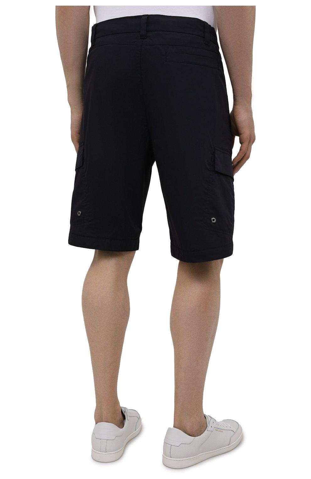 Мужские хлопковые шорты BOGNER темно-синего цвета, арт. 18173753 | Фото 4 (Мужское Кросс-КТ: Шорты-одежда; Принт: Без принта; Длина Шорты М: Ниже колена; Материал внешний: Хлопок; Стили: Спорт-шик)