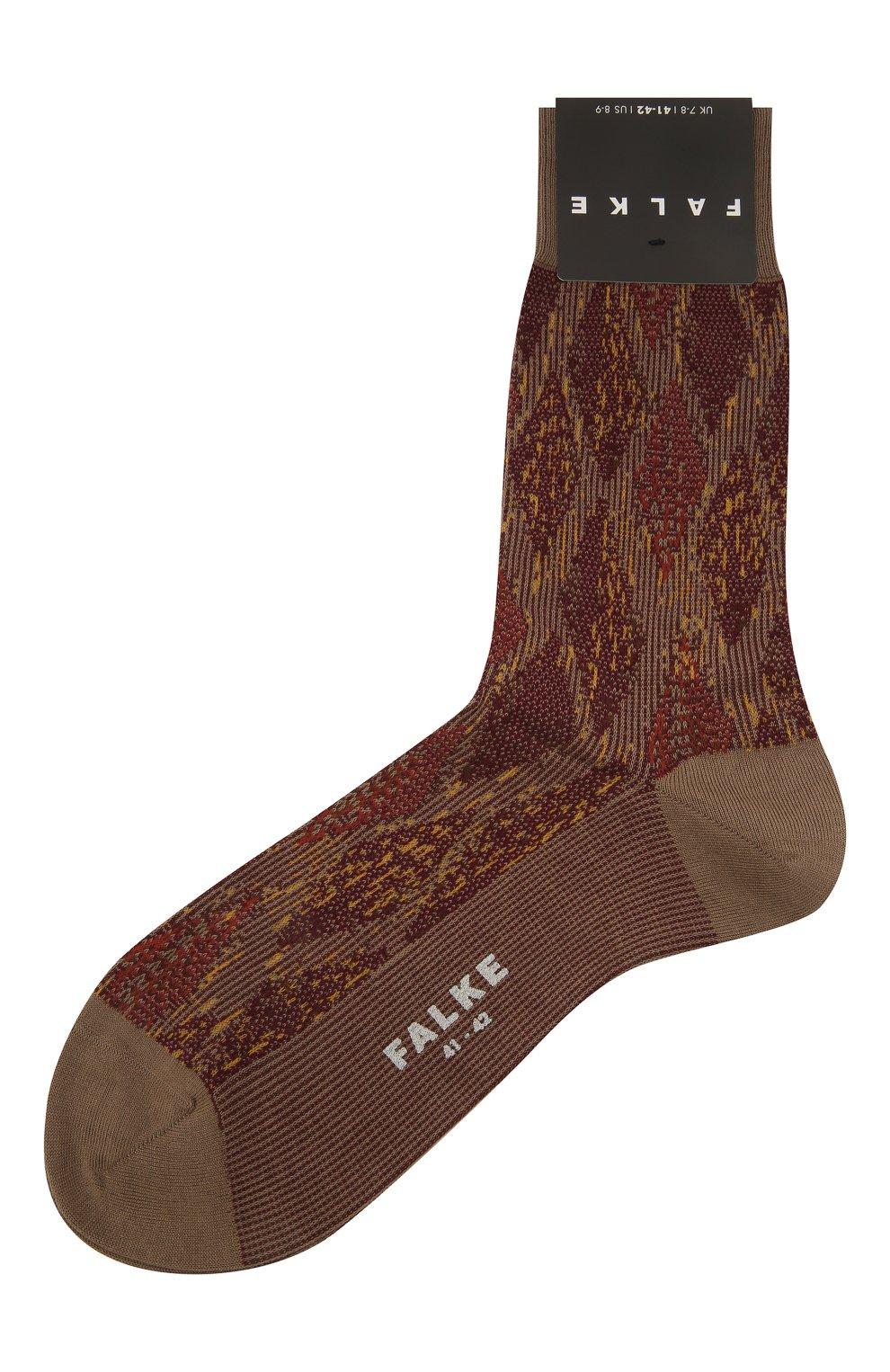 Мужские хлопковые носки FALKE коричневого цвета, арт. 12441   Фото 1 (Кросс-КТ: бельё; Материал внешний: Хлопок)