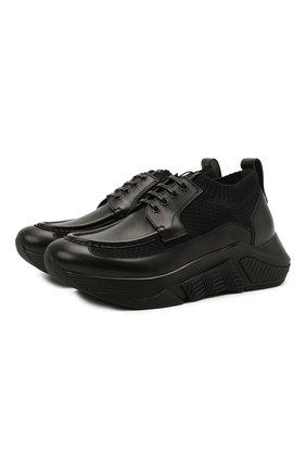 Мужские комбинированные кроссовки GIORGIO ARMANI черного цвета, арт. X2X149/XM963 | Фото 1 (Подошва: Массивная; Материал внутренний: Натуральная кожа; Материал внешний: Текстиль; Стили: Классический)