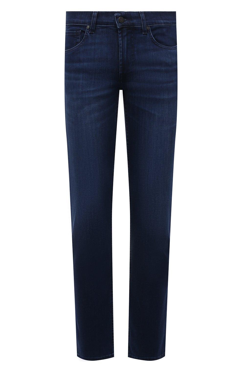 Мужские джинсы 7 FOR ALL MANKIND синего цвета, арт. JSMSB800LI | Фото 1 (Силуэт М (брюки): Прямые; Длина (брюки, джинсы): Стандартные; Материал внешний: Хлопок; Стили: Кэжуэл)