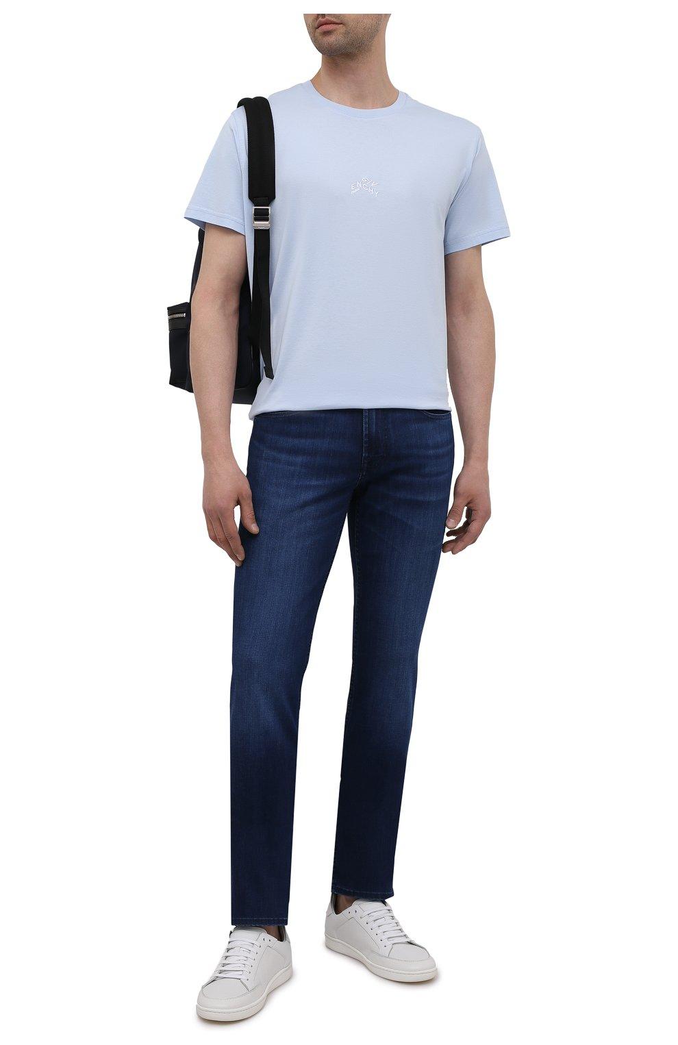 Мужские джинсы 7 FOR ALL MANKIND синего цвета, арт. JSMSB800LI | Фото 2 (Силуэт М (брюки): Прямые; Длина (брюки, джинсы): Стандартные; Материал внешний: Хлопок; Стили: Кэжуэл)