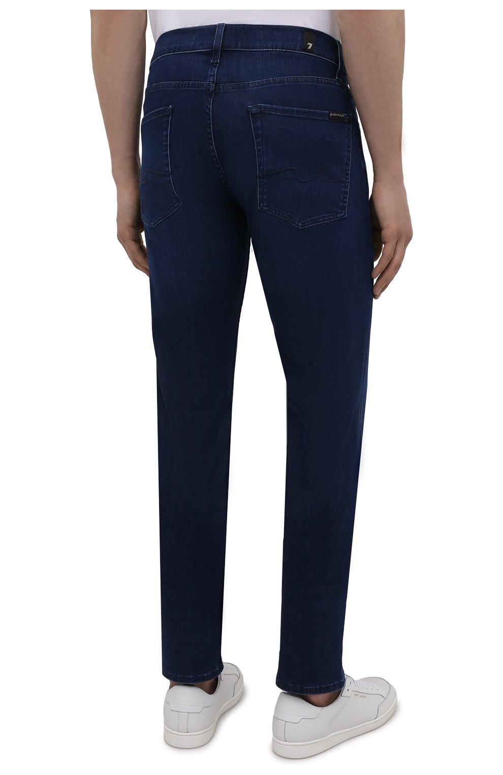 Мужские джинсы 7 FOR ALL MANKIND синего цвета, арт. JSMSB800LI | Фото 4 (Силуэт М (брюки): Прямые; Длина (брюки, джинсы): Стандартные; Материал внешний: Хлопок; Стили: Кэжуэл)