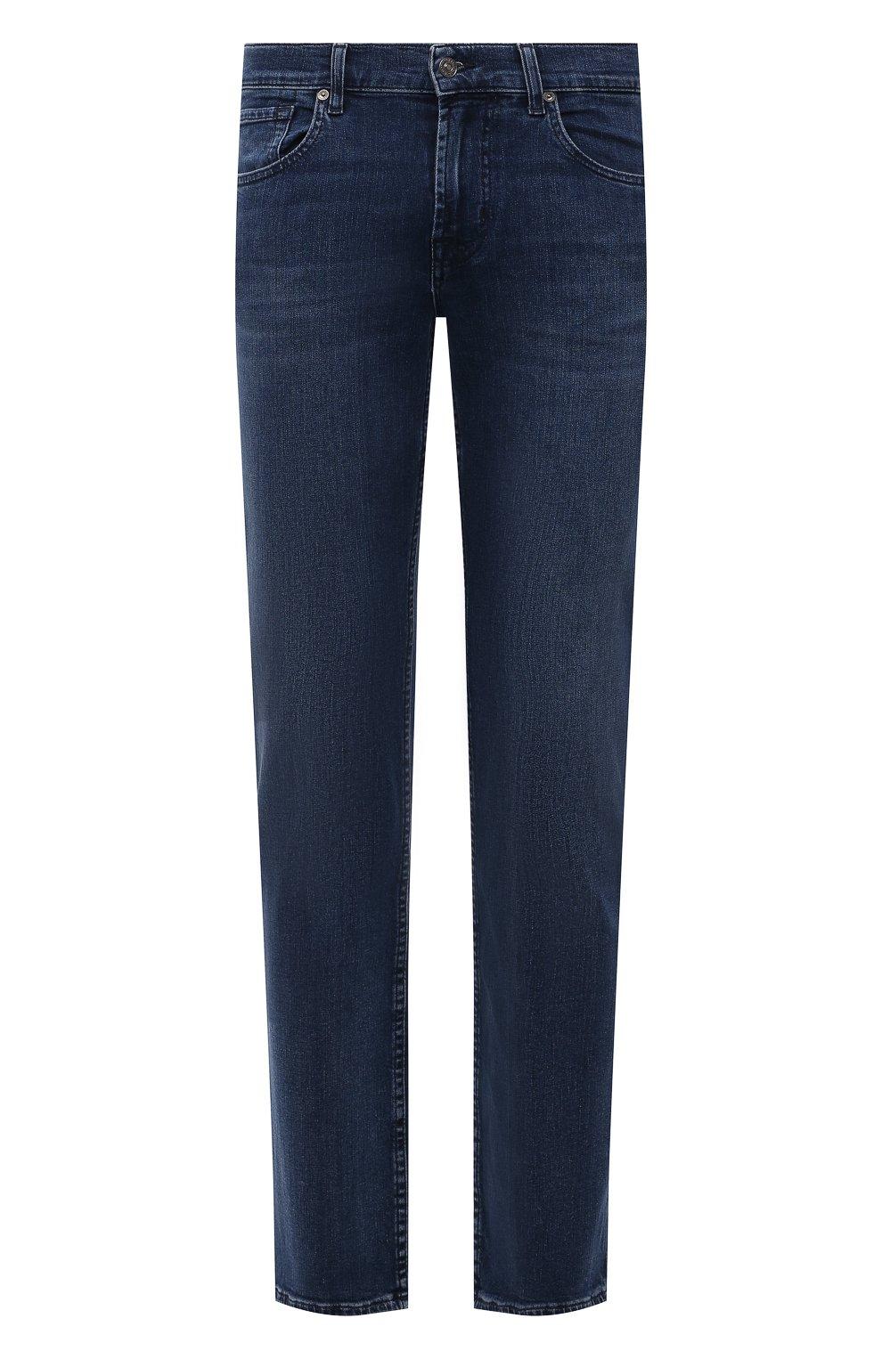 Мужские джинсы 7 FOR ALL MANKIND синего цвета, арт. JSMSB28RDB   Фото 1 (Силуэт М (брюки): Прямые; Длина (брюки, джинсы): Стандартные; Материал внешний: Хлопок, Деним; Стили: Кэжуэл)