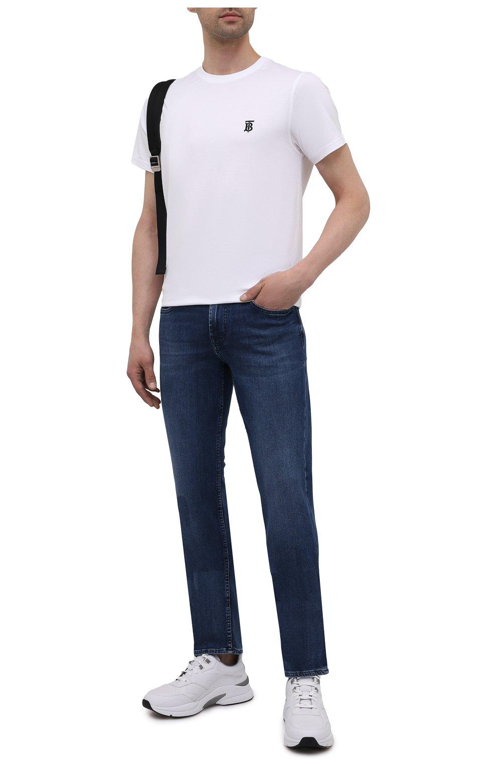 Мужские джинсы 7 FOR ALL MANKIND синего цвета, арт. JSMSB28RDB   Фото 2 (Силуэт М (брюки): Прямые; Длина (брюки, джинсы): Стандартные; Материал внешний: Хлопок, Деним; Стили: Кэжуэл)