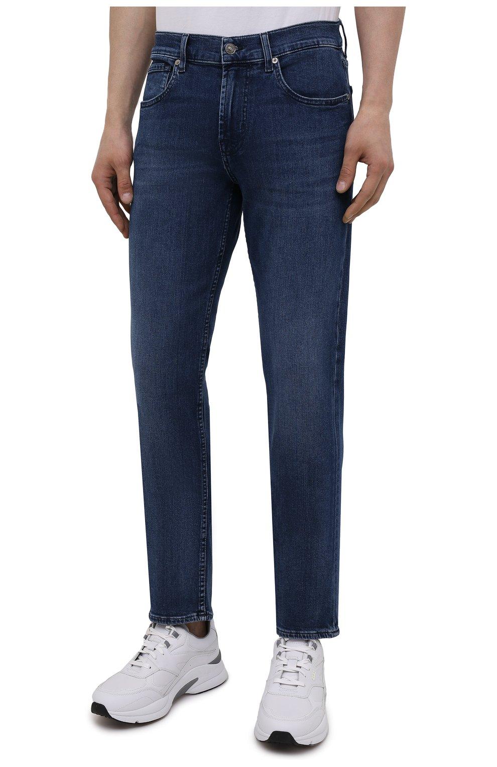 Мужские джинсы 7 FOR ALL MANKIND синего цвета, арт. JSMSB28RDB   Фото 3 (Силуэт М (брюки): Прямые; Длина (брюки, джинсы): Стандартные; Материал внешний: Хлопок, Деним; Стили: Кэжуэл)
