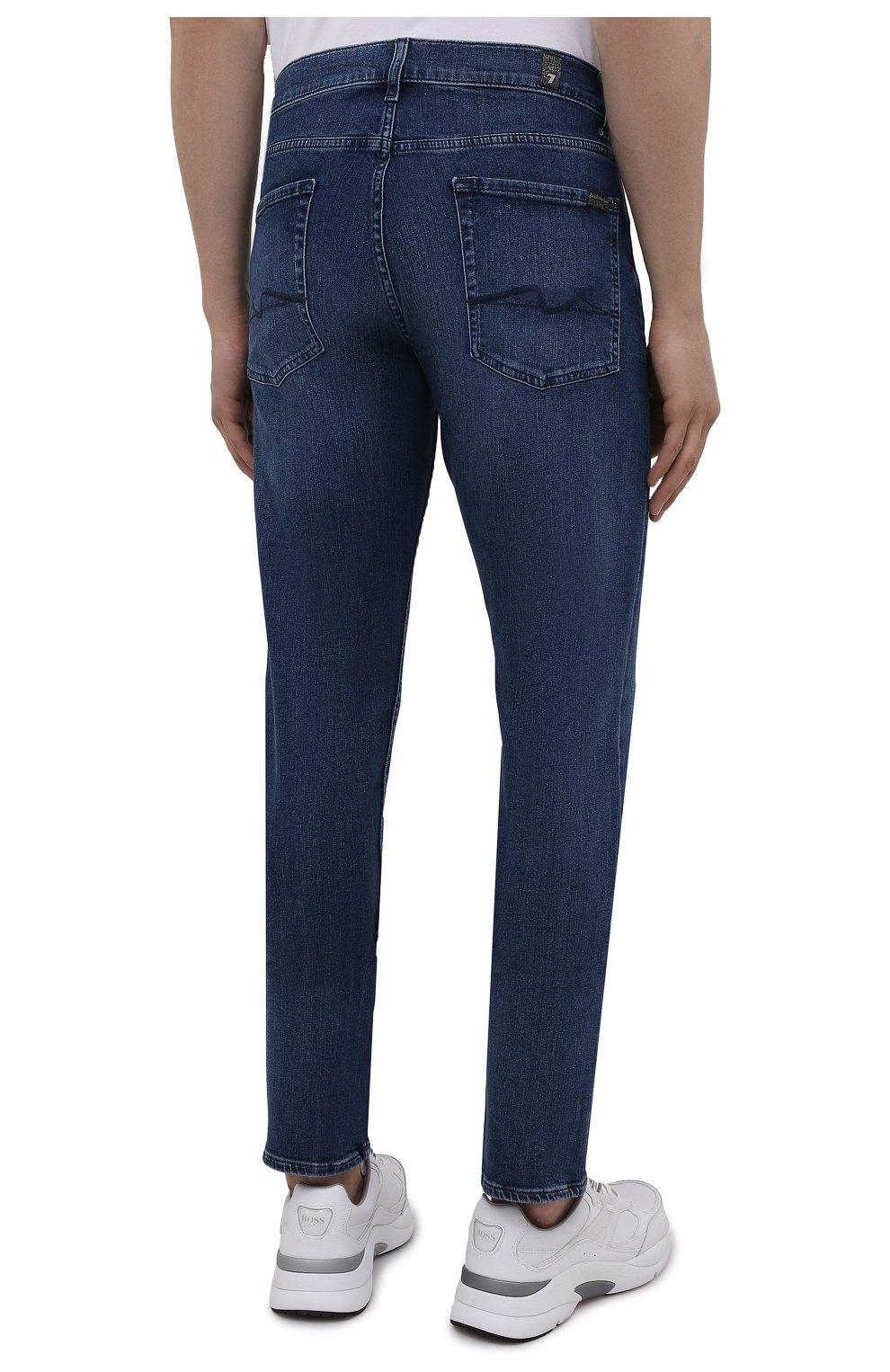 Мужские джинсы 7 FOR ALL MANKIND синего цвета, арт. JSMSB28RDB   Фото 4 (Силуэт М (брюки): Прямые; Длина (брюки, джинсы): Стандартные; Материал внешний: Хлопок, Деним; Стили: Кэжуэл)