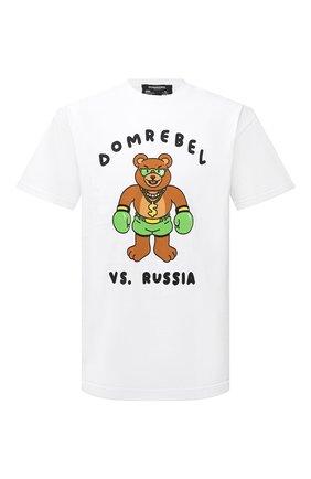 Мужская хлопковая футболка DOMREBEL белого цвета, арт. CASH PRIZE/T-SHIRT | Фото 1 (Длина (для топов): Стандартные; Рукава: Короткие; Материал внешний: Хлопок; Принт: С принтом; Стили: Гранж)