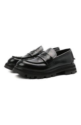 Мужские кожаные пенни-лоферы ALEXANDER MCQUEEN черного цвета, арт. 664618/WHZ80 | Фото 1 (Материал внутренний: Натуральная кожа; Стили: Кэжуэл)