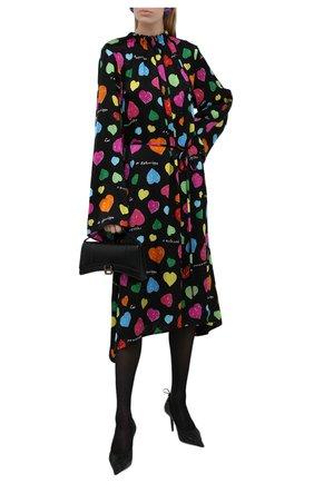 Женское шелковое платье BALENCIAGA черного цвета, арт. 659084/TKL08   Фото 2 (Материал внешний: Шелк; Женское Кросс-КТ: Платье-одежда; Рукава: Длинные; Длина Ж (юбки, платья, шорты): Миди; Стили: Романтичный; Случай: Повседневный)