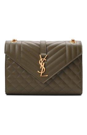 Женская сумка classic monogram medium SAINT LAURENT хаки цвета, арт. 600185/B0W91   Фото 1