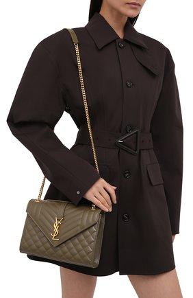Женская сумка classic monogram medium SAINT LAURENT хаки цвета, арт. 600185/B0W91   Фото 2