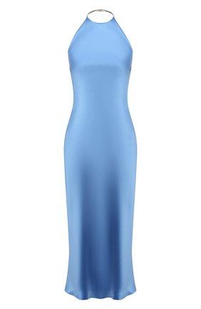 Женское шелковое платье RALPH LAUREN голубого цвета, арт. 290840169   Фото 1 (Материал внешний: Шелк; Случай: Коктейльный; Женское Кросс-КТ: Платье-одежда; Стили: Романтичный; Длина Ж (юбки, платья, шорты): До колена)