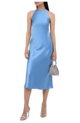 Женское шелковое платье RALPH LAUREN голубого цвета, арт. 290840169   Фото 2 (Материал внешний: Шелк; Случай: Коктейльный; Женское Кросс-КТ: Платье-одежда; Стили: Романтичный; Длина Ж (юбки, платья, шорты): До колена)