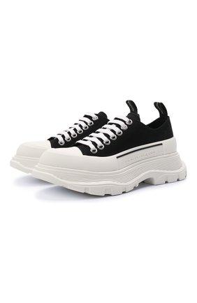 Женские текстильные ботинки tread slick ALEXANDER MCQUEEN черно-белого цвета, арт. 611705/W4MV2 | Фото 1 (Материал внешний: Текстиль; Материал внутренний: Натуральная кожа; Подошва: Платформа; Женское Кросс-КТ: Военные ботинки)