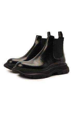Женские кожаные ботинки ALEXANDER MCQUEEN черного цвета, арт. 641837/WHZ84 | Фото 1 (Подошва: Платформа; Материал внутренний: Натуральная кожа; Каблук высота: Низкий; Женское Кросс-КТ: Челси-ботинки)