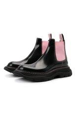 Женские кожаные ботинки ALEXANDER MCQUEEN черного цвета, арт. 641837/WHZ8H | Фото 1 (Каблук высота: Низкий; Материал внутренний: Натуральная кожа; Подошва: Платформа; Женское Кросс-КТ: Челси-ботинки)