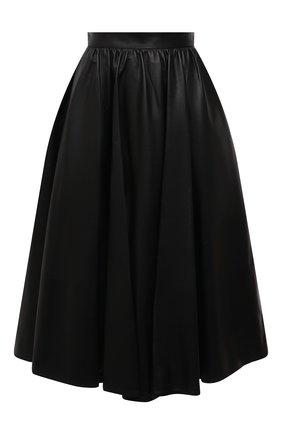 Женская кожаная юбка ALEXANDER MCQUEEN черного цвета, арт. 668454/Q5AGQ | Фото 1 (Длина Ж (юбки, платья, шорты): Миди; Материал подклада: Вискоза; Стили: Гламурный; Женское Кросс-КТ: Юбка-одежда)