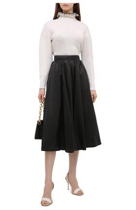 Женская кожаная юбка ALEXANDER MCQUEEN черного цвета, арт. 668454/Q5AGQ | Фото 2 (Длина Ж (юбки, платья, шорты): Миди; Материал подклада: Вискоза; Стили: Гламурный; Женское Кросс-КТ: Юбка-одежда)