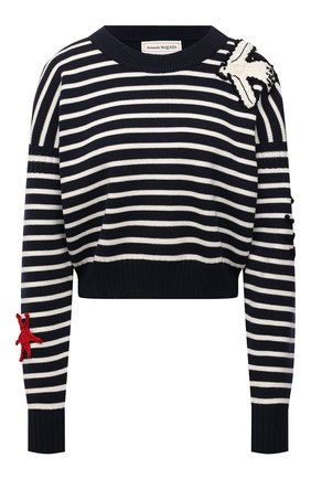 Женский пуловер из шерсти и хлопка ALEXANDER MCQUEEN разноцветного цвета, арт. 667831/Q1AVQ   Фото 1 (Рукава: Длинные; Материал внешний: Шерсть, Хлопок; Длина (для топов): Укороченные; Женское Кросс-КТ: Пуловер-одежда)