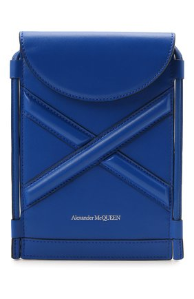 Женская сумка curve bucket micro ALEXANDER MCQUEEN темно-синего цвета, арт. 666362/1YB49 | Фото 1 (Материал: Натуральная кожа; Ремень/цепочка: На ремешке; Размер: mini; Сумки-технические: Сумки через плечо)