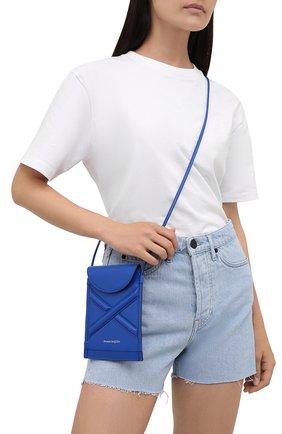 Женская сумка curve bucket micro ALEXANDER MCQUEEN темно-синего цвета, арт. 666362/1YB49 | Фото 2 (Материал: Натуральная кожа; Ремень/цепочка: На ремешке; Размер: mini; Сумки-технические: Сумки через плечо)