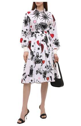 Женская хлопковая юбка ALEXANDER MCQUEEN разноцветного цвета, арт. 666300/QCAEN | Фото 2 (Длина Ж (юбки, платья, шорты): Миди; Материал внешний: Хлопок; Стили: Романтичный; Женское Кросс-КТ: Юбка-одежда)